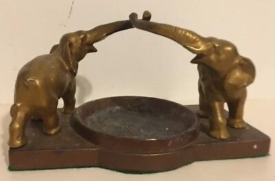 Vtg Signed Nuart Creations Art Deco Ashtray Figural Elephants Spelter