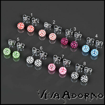 1 Pair Ear Studs Polkadot Ball Polka Dotted Stainless Steel Acrylic Earrings