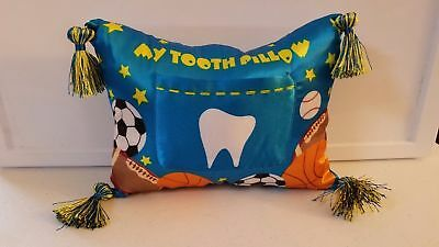 BRAND NEW-- TOOTH FAIRY PILLOW WITH TOOTH POCKET and TASSELS BLUE