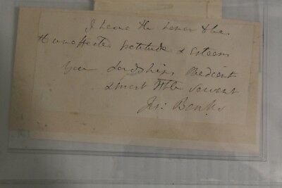Written and signed by Sir Joseph Banks Botanist and Entrepeneur