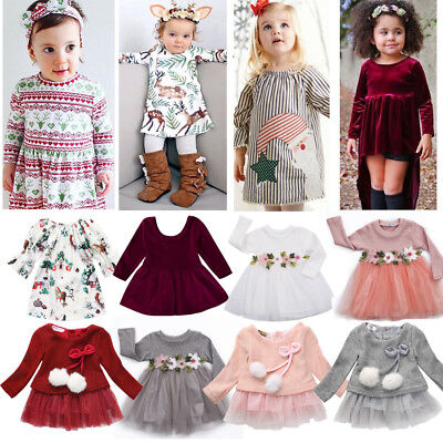 Christmas Toddler Kid Baby Girls Costume Floral Tulle Princess Dresses Outfits