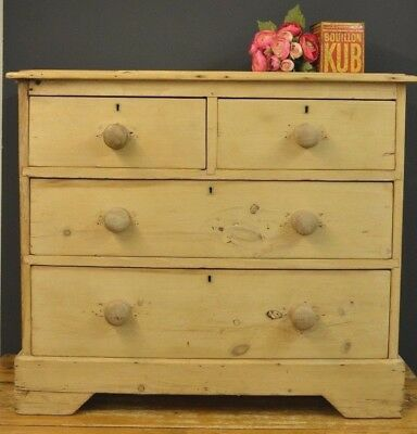 Vintage Pine Chest Of Drawers Rustic Wood Farmhouse Victorian - Edwardian