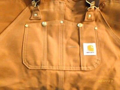 Carhartt Duck Bill Overalls 36 x 30 R01 Brn New with Tags