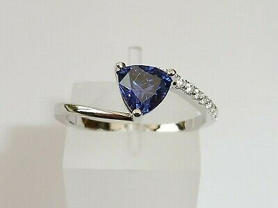 Ladies Sterling 925 Silver Tanzanite Solitaire and Natural Diamond Dress Ring