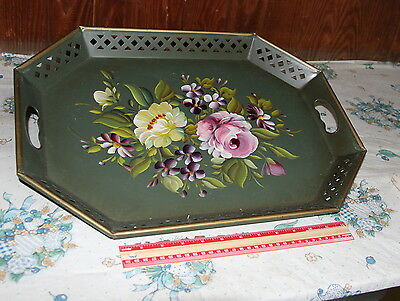 Vintage Green Hand Painted Shabby Chic Roses Tole Server Tray - NASHCO Original