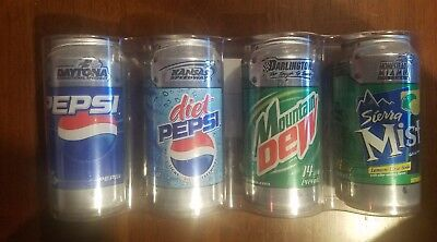 Rare 4 Pepsi Cola Can Complete Set Empty Sports Series Nascar Race Track Kit