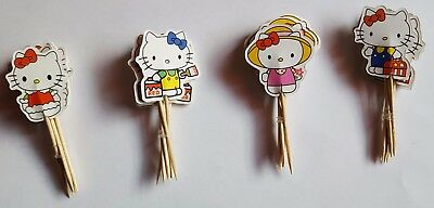 Hello Kitty 24 Cupcake Muffin Kuchen Toppers Käse-Picks Dekoration NEU