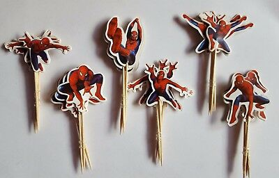 Spiderman 24 Cupcake Muffin Kuchen Toppers Käse-Picks Tiere