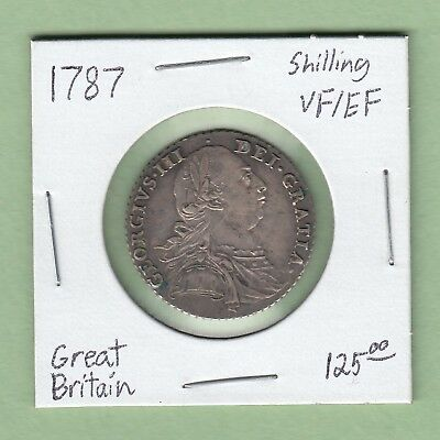 1787 Great Britain One Shilling Silver Coin - George III - VF/EF