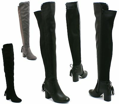 b7631c8b191a Womens Over The Knee High Wide Fit Tassel Elastic Stretch Block Heel Riding  Boot