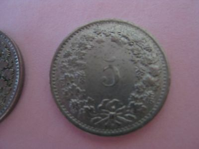1952 and 1969 Swiss five (5)Rappen coins