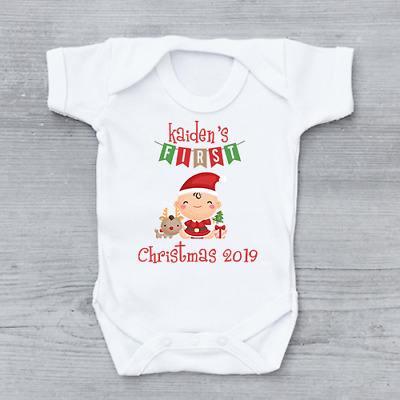 Personalised My First 1st Christmas Xmas Bunting Unisex Baby Grow Bodysuit