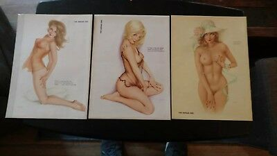 3 Different 1970's Playboy Vintage  Alberto Vargas Sexy Pin Up Girl Centerfolds