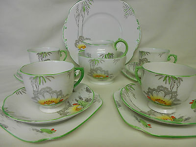 Vintage Art Deco 1930s Roslyn China Tea Set Lily Pattern Hand Painted Weddings