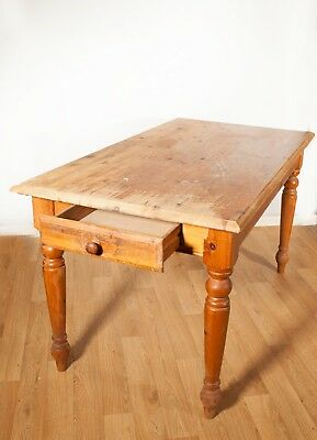Solid wood Pine Dining table in a Farmhouse style with Drawer - 54 x 30 Inches
