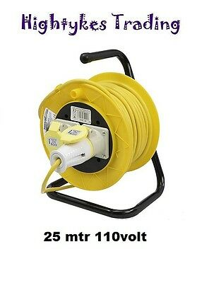 Electrical Extension 110V 16A 25Mtr Reel Cable Lead Site Industrial 2 way gang