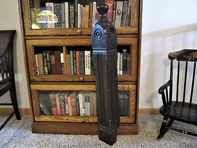 Tiger Oak Bullseye Stairway Newel Post Primitive Shabby Victorian Column Chic