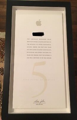 Apple Employee Five Year Award Plaque Steve Jobs Signature