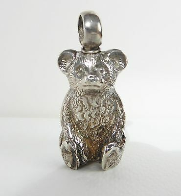 Antique Sterling Silver Novelty Bear Hallmarked For Birmingham 1909, 5Cm High