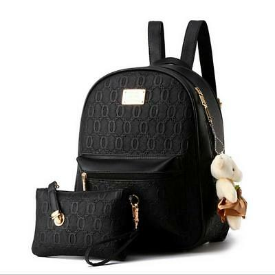 Women Backpack from Faux Leather Fashion Woman Travel Rucksack with Small Bag