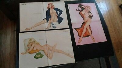 3 1970's Vintage 2 Page Alberto Vargas Sexy Playboy Pin Up Girl Centerfolds