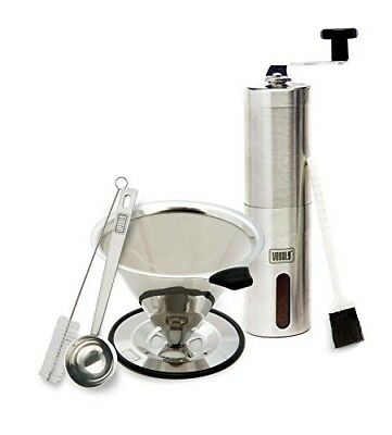 Manual Coffee Grinder and Dripper Set with Bonus Spoon and Cleaning Brush –...