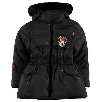 Girls Black Disney Minnie Mouse Hooded Faux Fur Padded Parker Jacket