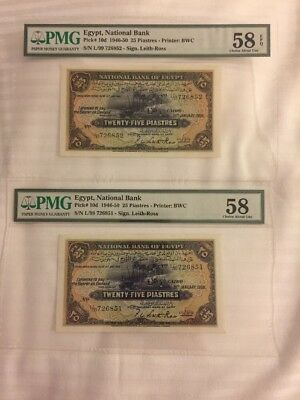 Egypt 1950 2 Banknotes 25 Piasters Perfect UNC Pmg Graded