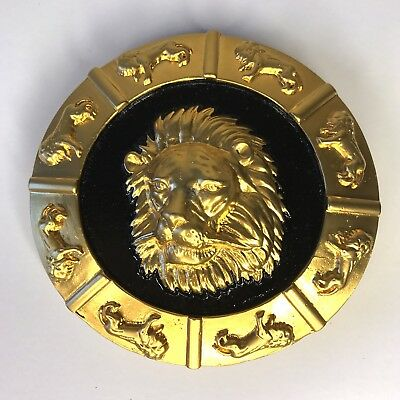 "Vintage NI 95© Belt Buckle Lion's Head Matte Gold Tone Black Enamel 3.25"" Heavy"