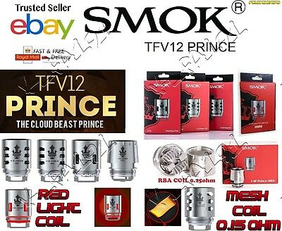 100% GENUINE SMOK TFV12 PRINCE COILS RBA T10 RED LIGHT MESH T10  Q4  X6 1 or 3