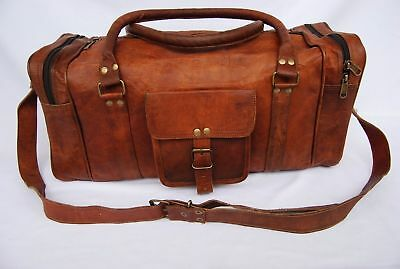 003f586a65 Men s genuine Leather large vintage duffle travel gym weekend overnight bag  24