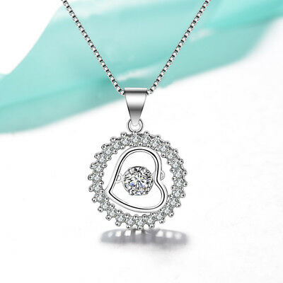 Heart Pendant 925 Sterling Silver Chain Necklace Womens Ladies Jewellery Gift UK