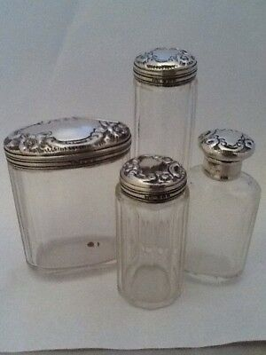 Set Of 4 Decorative Antique Silver Topped Dressing Table Jars - Birmingham 1907