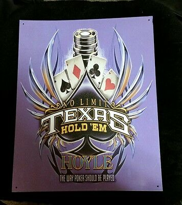 "Hoyle Texas Hold'em Metal Tin Sign 15""x 12"""