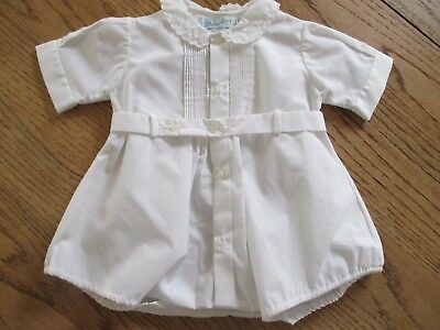 Vintage Feltman Bros Baby White One Piece Romper Outfit CUFF NEWBORN DOLL OUTFIT