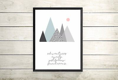 A4 Print Only -Mountain Print -Nursery Prints-New Baby Gift -Nursery Decor