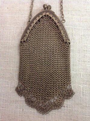 Vintage Art Deco Antique Small Change Signed German Silver Mesh Purse Chain Mail