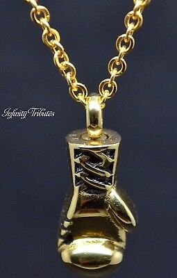 Cremation Urn Necklace Keepsake Pendant for Ashes 24k Gold Plated Boxing Glove
