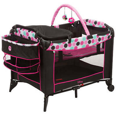 Bassinet Play Yard Crib for Girls Cradle Storage Minnie Mouse