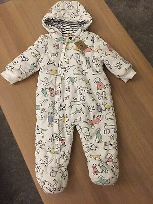 Joules Bnwt Tags 6-9 Months Snow Suit Pram Suit White Dog Print