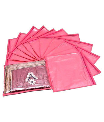 Indian Women 12 Saree Cover Pouch Storage Bag Packing Zipper Single Saree Cover