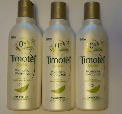 3 x 200ml Timotei Pure Conditioner - Normal to Greasy Hair 0% Parabens