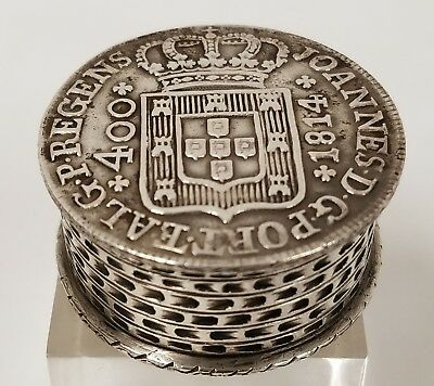 Antique Silver Snuff Pill Box Stacked Coins 1814 Portugal Coin Top