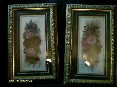 Two 15X10 Gold Framed Flower Pictures ,mauve's And Greens Beautiful