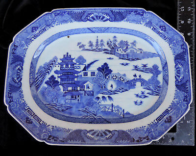 CANTON CHINESE EXPORT PORCELAIN PLATTER Blue and White Art 19th Century