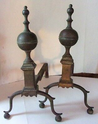 Antique Revolutionary War Era  Brass & Iron Worthington Style Andirons FirePlace