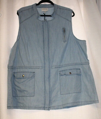 New Womens Plus Size 3X Chambray Blue Lightweight  Zip Front Vest Top
