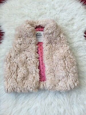 MINI BODEN GIRL Faux Fur Gilet Party Button Star Satin Lined Vest Jacket 2 3 Yrs