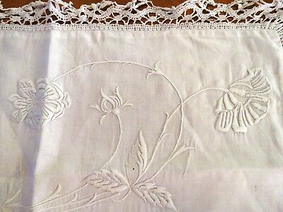 Antique Vintage French Pillow Sham Case White Hand Embroidered Flowers Leaf