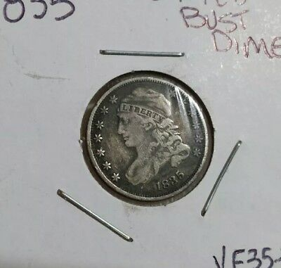 1835 US Silver Capped Bust Dime Beautiful Estate Find vf